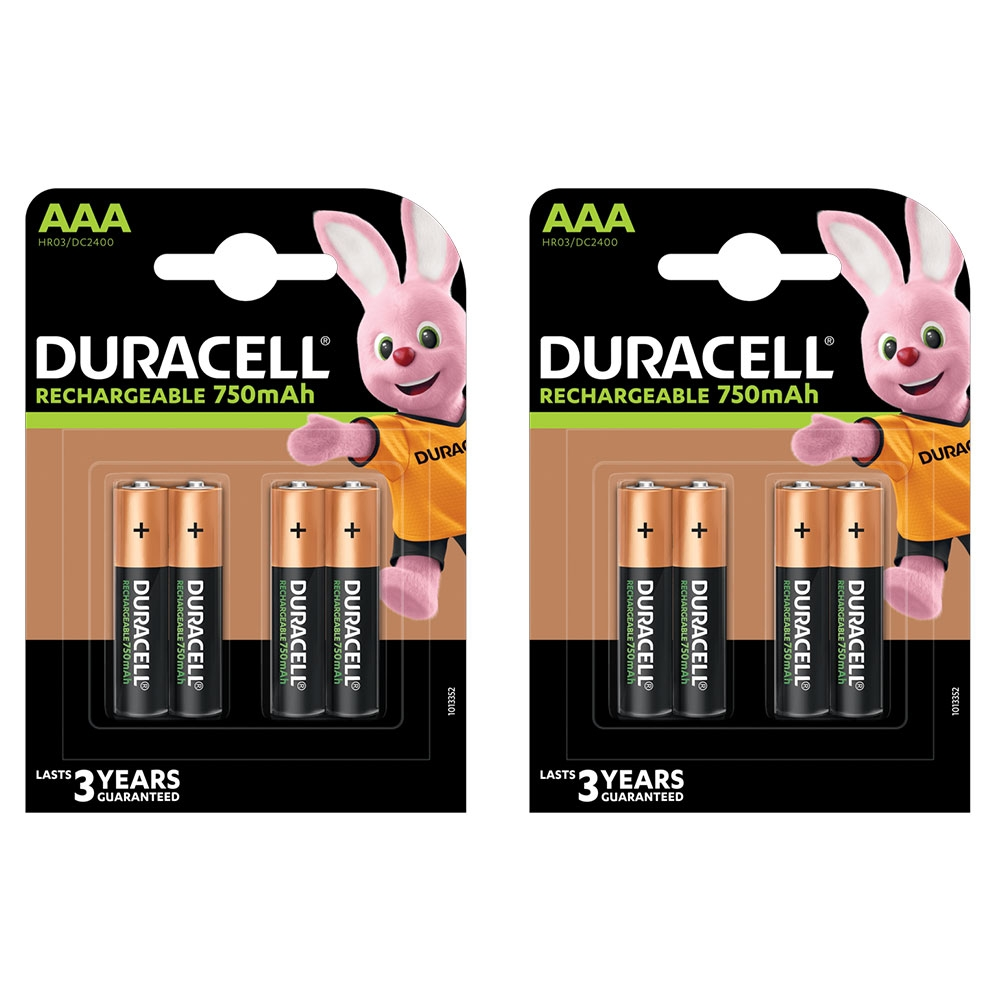 Duracell AAA Rechargeable Batteries NiMH Recharge Plus Stay Charged 750mAh - Value 8 Pack
