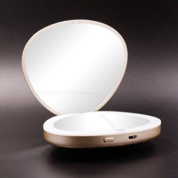 sufeile led makeup mirror light portable creative charging treasure folding dressing mini hd princess pocket mirror d40