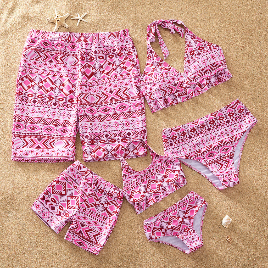 Pink Boho Matching Swimsuits