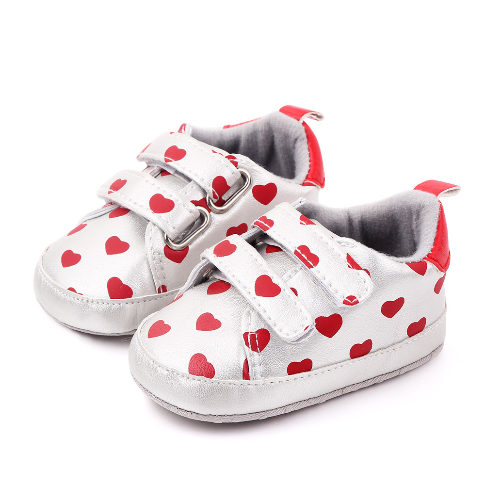 Baby / Toddler Girl Pretty Heart Print Velcro Prewalker Shoes