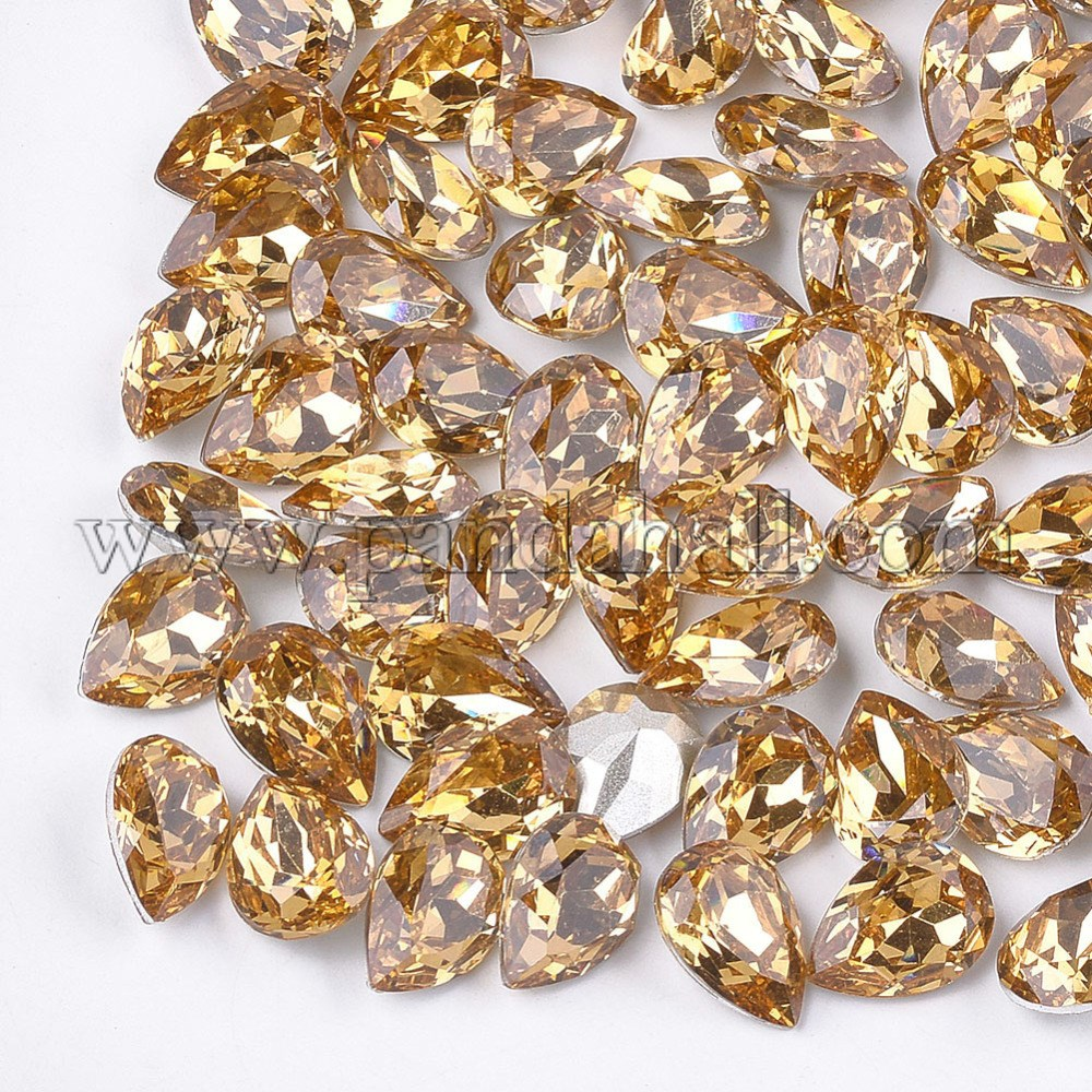 Pointed Back Resin Rhinestone Cabochons, Back Plated, Faceted, Drop, Light Topaz, 8~8.5x6x3.5mm; about 1000pcs/bag