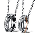 (2PC) Star Cross Ring of Titanium Rings Symbolize Eternal Love Couples Necklaces