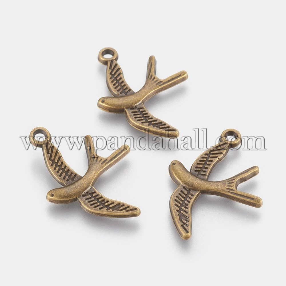 Alloy Pendants, Lead Free & Cadmium Free & Nickel Free, Bird, Antique Bronze, 31mm long, 22mm wide, 2mm thick, hole: 2mm