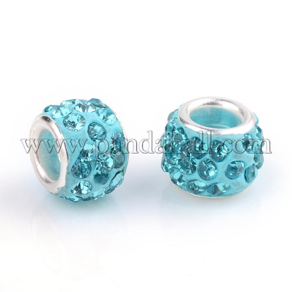 Polymer Clay Rhinestone European Beads, Large Hole Beads, Rondelle, with Silver Tone Brass Cores, Aquamarine, 10~12x7~8mm, Hole: 5mm