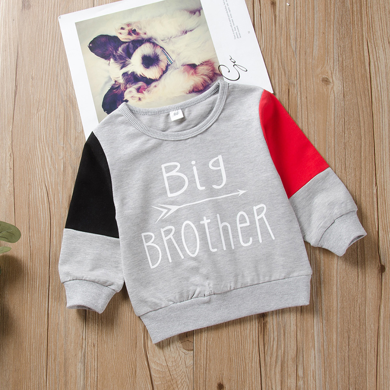 Baby Boy BIG BROTHER Print Colorblock Pullover