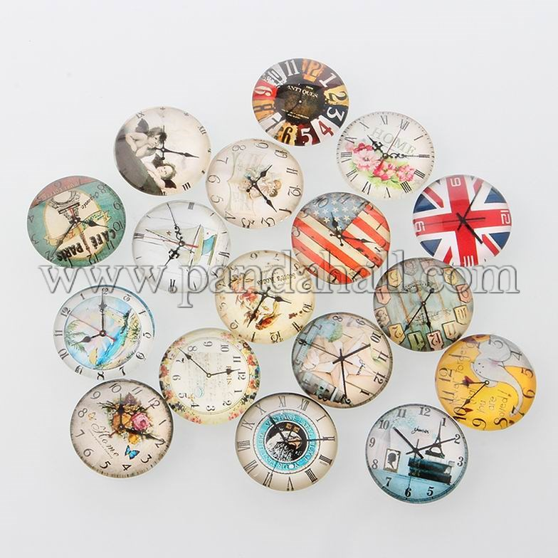 Clock Printed Glass Cabochons, Half Round/Dome, Mixed Color, 14x5mm