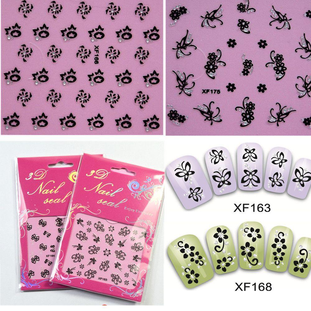 50sheets 3d Charm Flower Bow Butterfly Nail Art Glitter Sticker Foils Wraps Decorations Care Salon Manicure Tools XF151-180