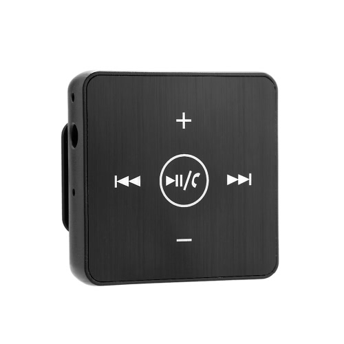 Wireless BT Audio Receiver Music Box Adapter with Microphone 3.5mm AUX Out Back Clip for Headphone Speaker Car Stereo Home Audio System Black