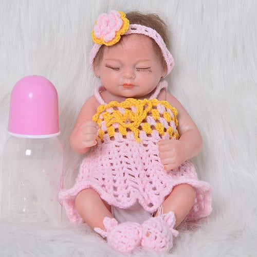 11 inch Mini Simulation Baby Closed Eyes Reborn Doll Comfort Toy