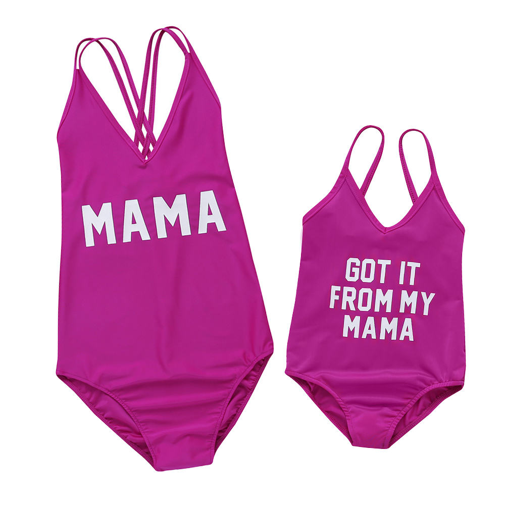 Solid Letter Print Swimsuit for Mommy and Me