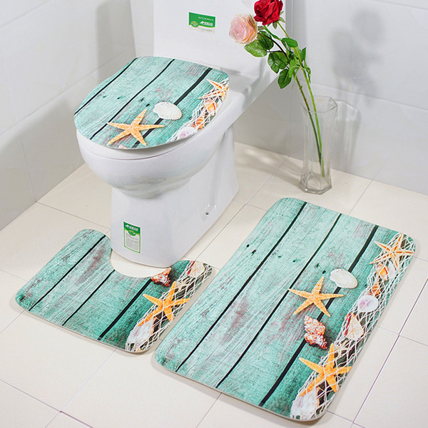 3pcs/set bathroom mat set toilet rug ocean world flannel anti slip bath mat rugs home decor bathroom products tapete banheiro