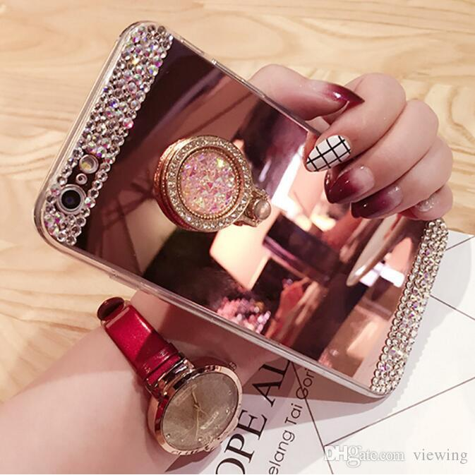 Bling Diamond Mirror Cellphone Case Hard Protective Cover With Ring Holder Stand For iPhone 5/5s 6/6s 7/7 plus Samsung S 4/5/6/7 S8/S8 Plus