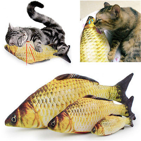 18/40/60cm cat play toy pet interactive kitten playing fish shape catnip interactive grass carp cat toy funny pet cat fish toy