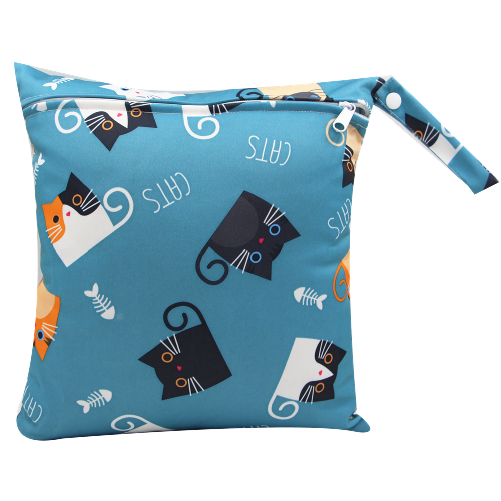 Waterproof Cat Print Cloth Diaper Wet/Dry Bags