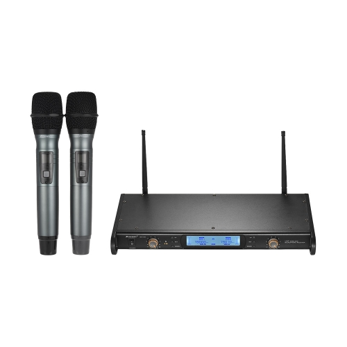 Baomic BM-7200 UHF Wireless Microphone System 2 Handheld Microphones + 1 Receiver with LCD display for Karaoke Business Meeting Speech Home Entertainment