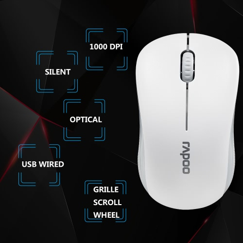 Rapoo N1130 USB Wired Optical Mouse Silent Mice 1000 DPI for Mac PC Laptop Computer