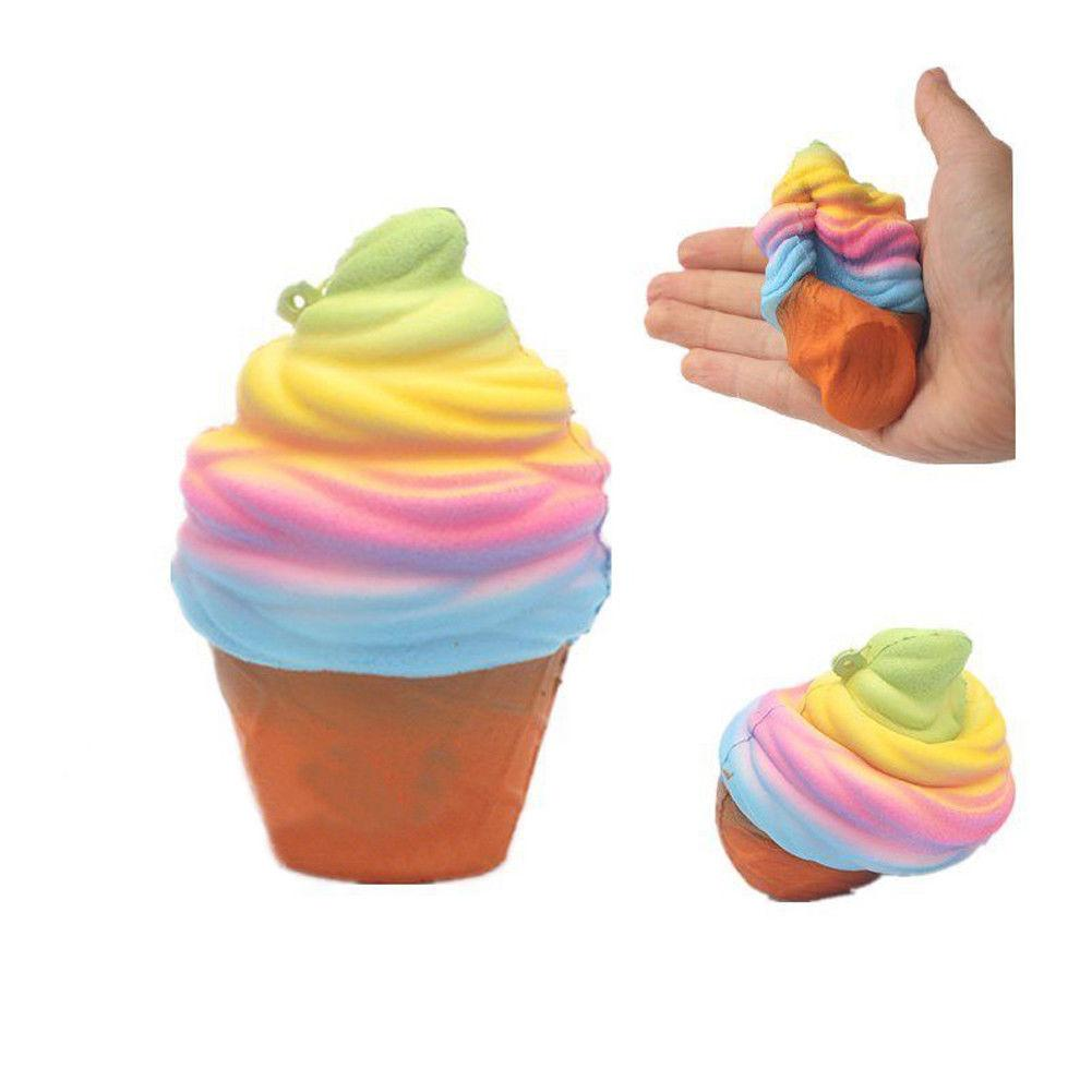 Jumbo 10CM Colorful Ice Cream Cute Squishy Slow Rising Phone Straps Sweet Scented Bread Cake Kid Toy Gift