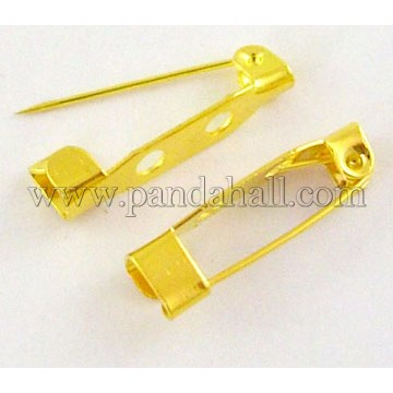 Pin Backs, Iron, Golden, 20mm long, 5mm wide, 5mm thick, hole: about 2mm