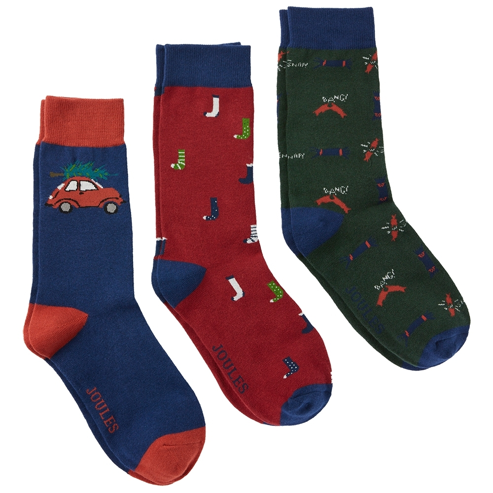 Joules Mens Striking Xmas Contrast Cotton Blend 3 Pack Socks UK Size 7-12