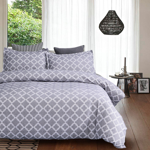 lychee geometric printed bedding set polyester pillowcase duvet cover sets 2-3pcs home textile family bed sets