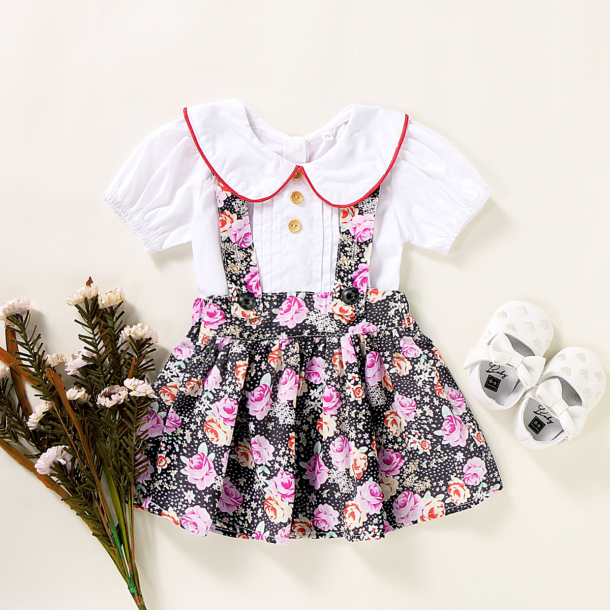 2-piece Baby / Toddler Girl Doll Collar Short-sleeve Top and Floral Suspender Skirt Set
