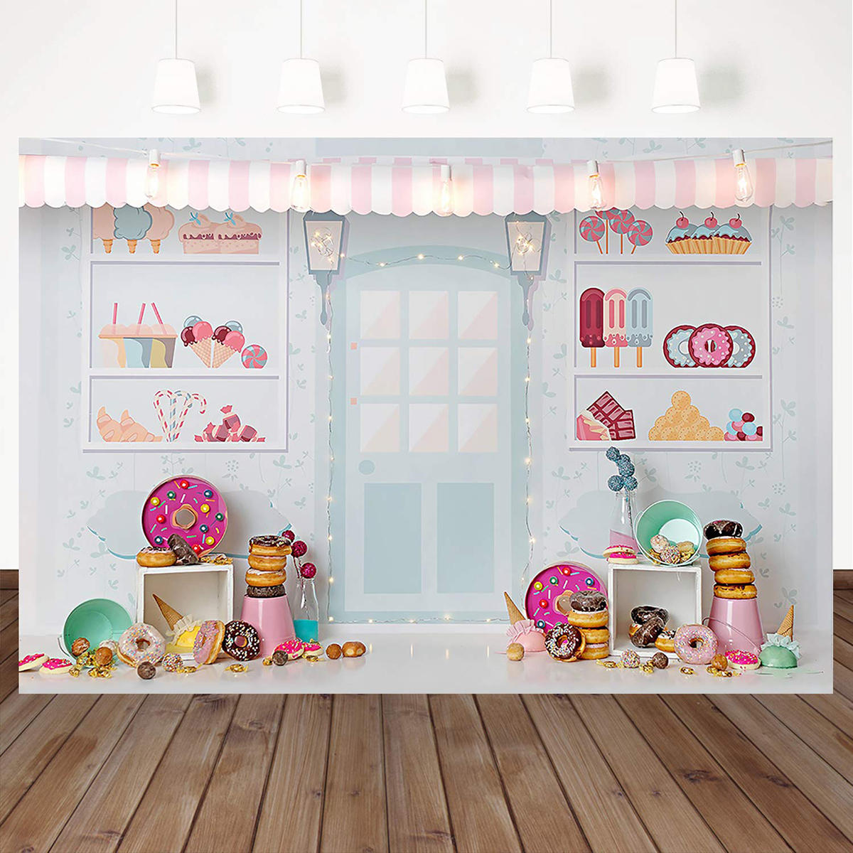 Vinyl Cartoon Dessert Shop Theme Birthday Photography Backdrop Birthday Party Decoration