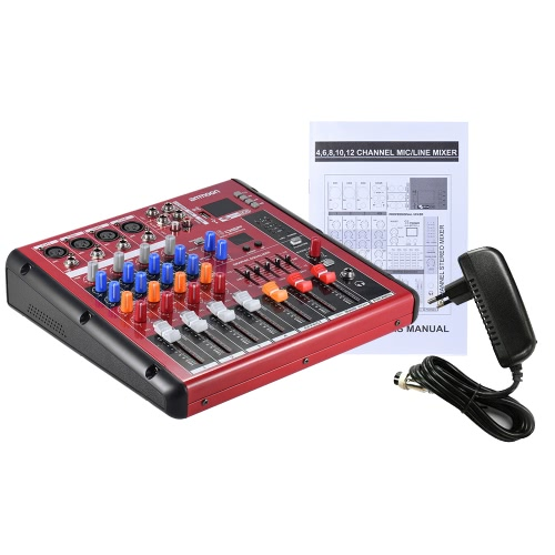 ammoon Digital BT 4-Channel Mic Line Audio Mixer Mixing Console for Recording DJ Stage Karaoke Music Appreciation