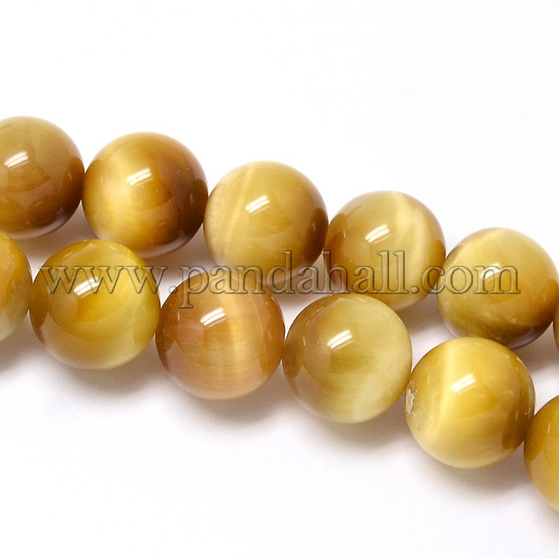 Natural Gold Tiger Eye Beads Strands, Grade A, Round, 12mm, Hole: 1~2mm; about 16pcs/strand, 8