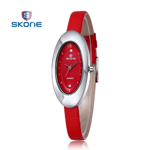 SKONE Ladies Watches Women Rhinestones Watches Oval Shape Dial Leather Band Fashion Wristwatches