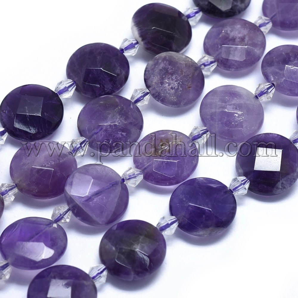 Natural Amethyst Beads Strands, Flat Round, Faceted, 15~16x6~7mm, Hole: 1.2mm; about 19pcs/strand, 14.9