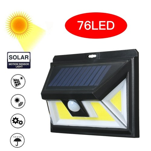 76 LEDs COB Solar Power Lights PIR Motion Sensor Wall Lamp