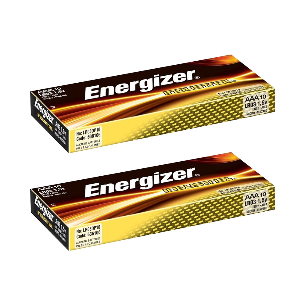 Energizer Industrial AAA Batteries Long Life Alkaline LR03 1.5V - Extra Value 20 Pack