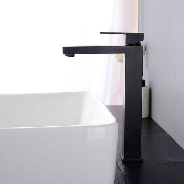 simple square black bathroom tap soild brass basin faucet single hole deck mounted chrome bathroom water mixer