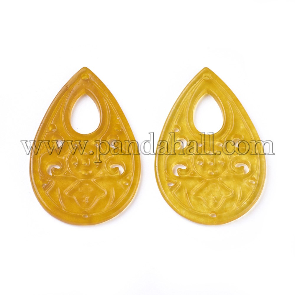 Carved Natural White Jade Pendants, Dyed, Teardrop, Goldenrod, 41~41.5x27x2~3mm, Hole: 1.2~1.4mm