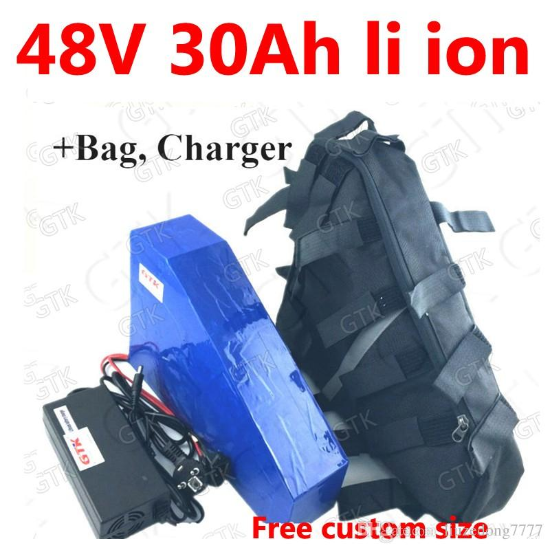 GTK 48v 30ah triangle lithium battery BMS li-ion rechargeable for 1000w 2000w electric ebike scooter bicycle + 5A charger + bag