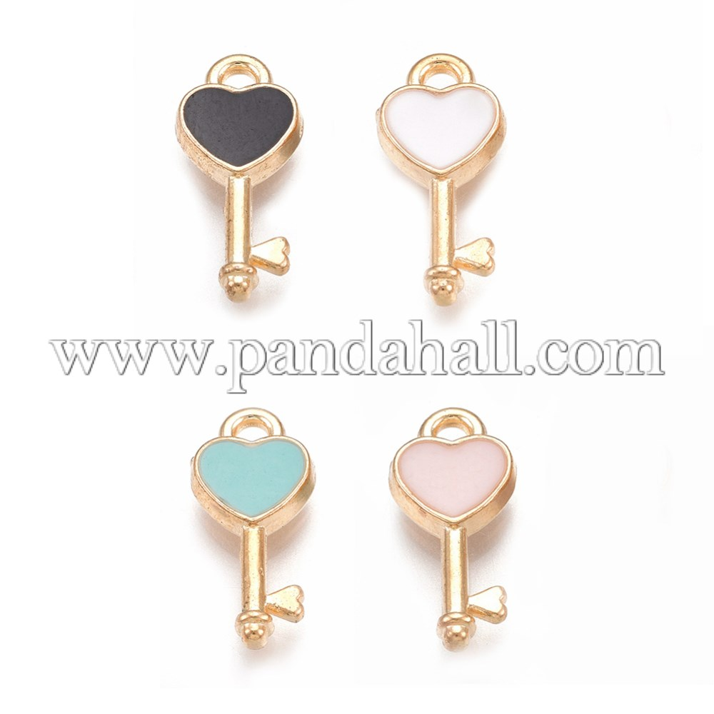 Alloy Pendants, with Enamel, Heart Key, Light Gold, Mixed Color, 16x7x2mm, Hole: 1.5mm