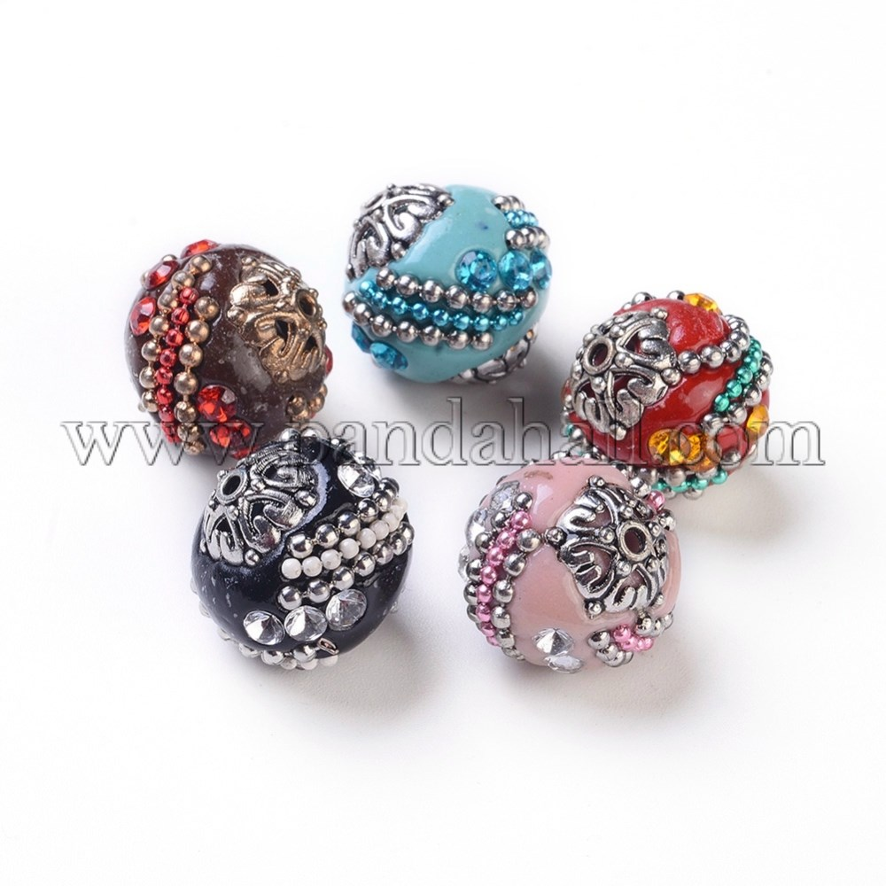 Handmade Indonesia Beads, with Polymer Clay, Iron Chain, Glass Rhinestone and Alloy Findings, Round, Mixed Color, 19x18mm, Hole: 2mm