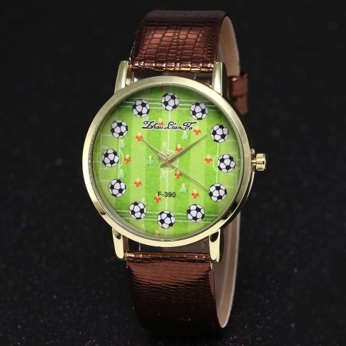 F-390 Men Watch Fashion Watch Quartz Luxury Leather Wrist Watch British Style with Football Pattern for FIFA World Cup