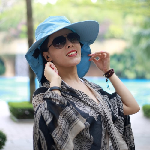 New Fashion Nylon BT Sun Hats Large Brimmed Hat for Woman Summer BT Music Hat Wireless Hands-Free Smart Cap Headphone Headset Speaker Mic
