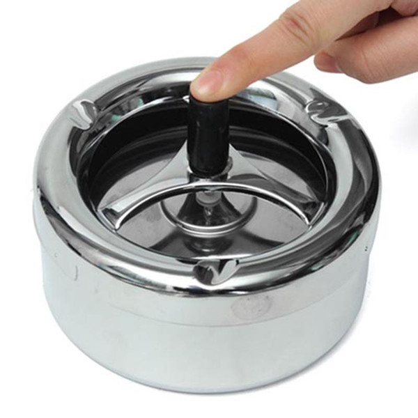 Hoard Rotation Ashtray Push Down Spinning Black Plain Cigarette Stainless Steel Smoke Set