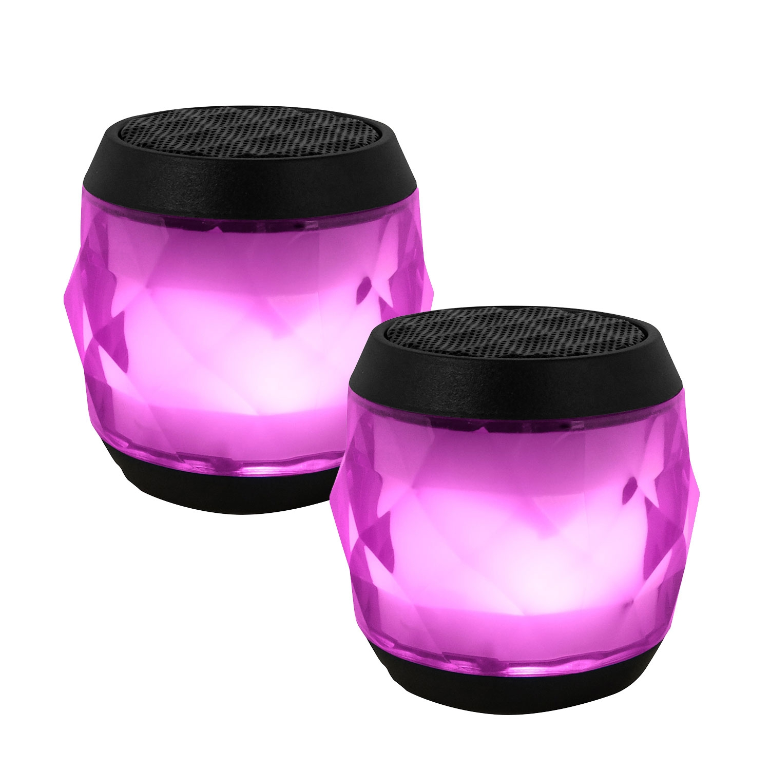 EvoDX BT 4.0 Speaker LED Multi-colour with TWS Feature and Handsfree Mic - Pink - Value Twin Pack