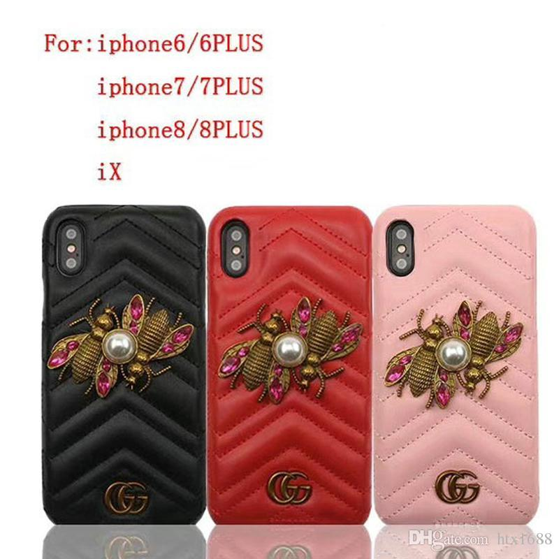 Case for iPhoneX 8 7 6 8plus brand metal two bees pearl leather phone case shell for Apple iPhone7plus hard back cover
