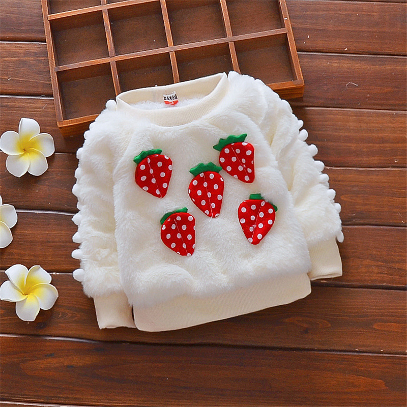 Baby / Toddler Sweet Strawberry Applique Pompon Sweater