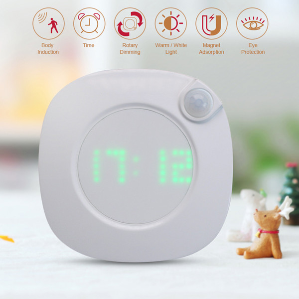 wall clock with motion sensor night light usb pir sensor two lighting color adjustable brightness magnet alarm clock night lamp