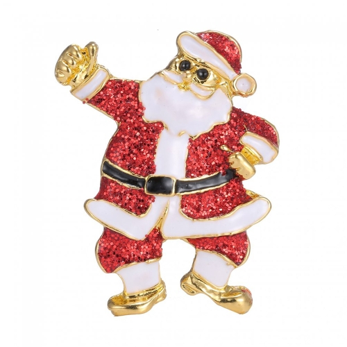 Cute Christmas Santa Claus Brooch Scarf Buckle Collar Clip Pin Holiday Gift