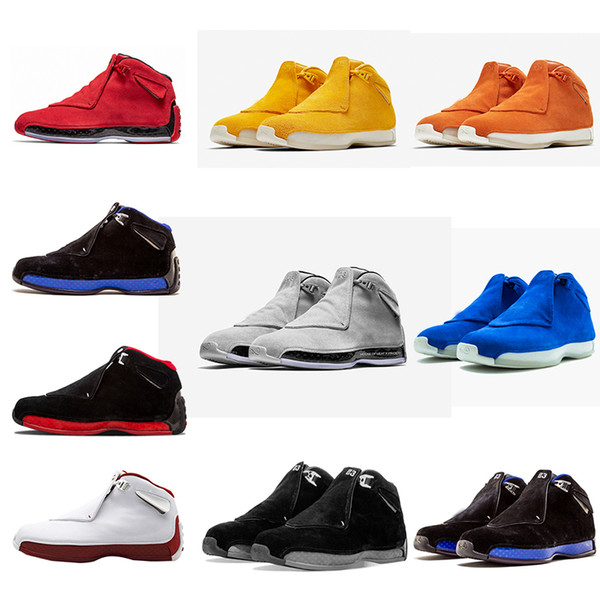 18 18s mens basketball shoes orang suede blue toro og asg black white red bred royal blue sports sneakers trainers outdoor designer