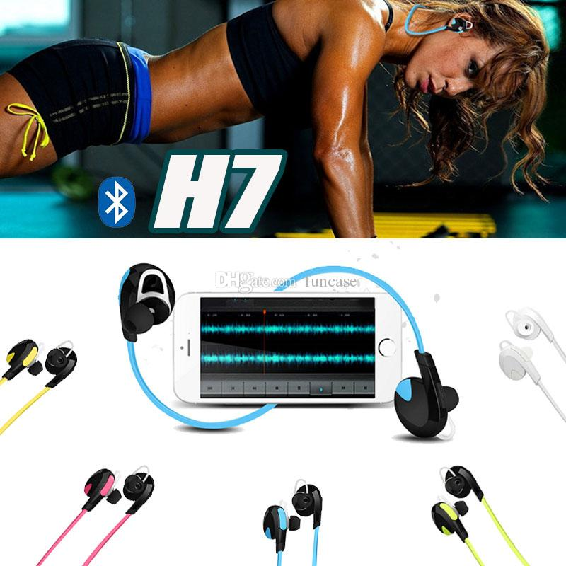 H7 For iPhone 8 Samsung S8 Plus Wireless Bluetooth V4.0 Sport Earphone And Noise Reduction Stereo Headset headphone Best CSR In Ear Earbuds