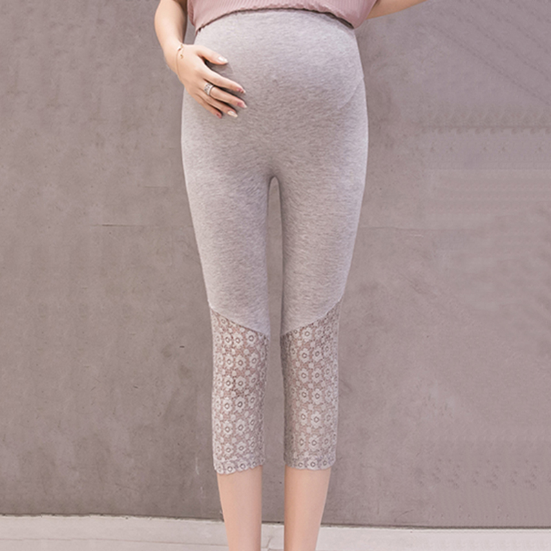 Lace Solid Maternity Leggings
