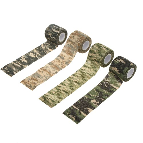 1 Roll Reusable Outdoor Military Camouflage Hunting Camping Cycling Wrap Elastic Stealth Tape 5CMx4.5M