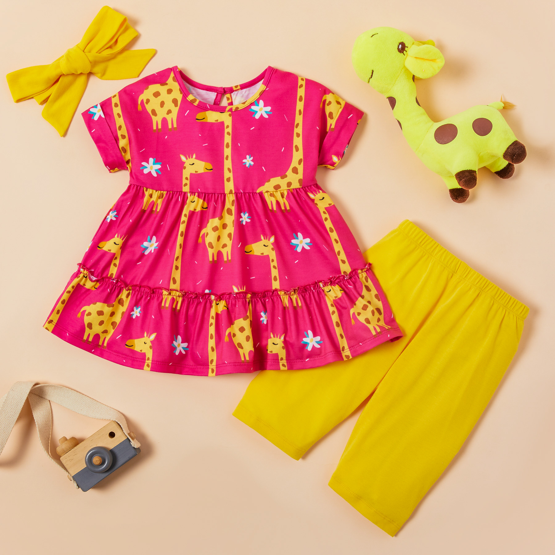 3-piece Baby / Toddler Giraffe Allover Dress and Solid Pants with Headband Set